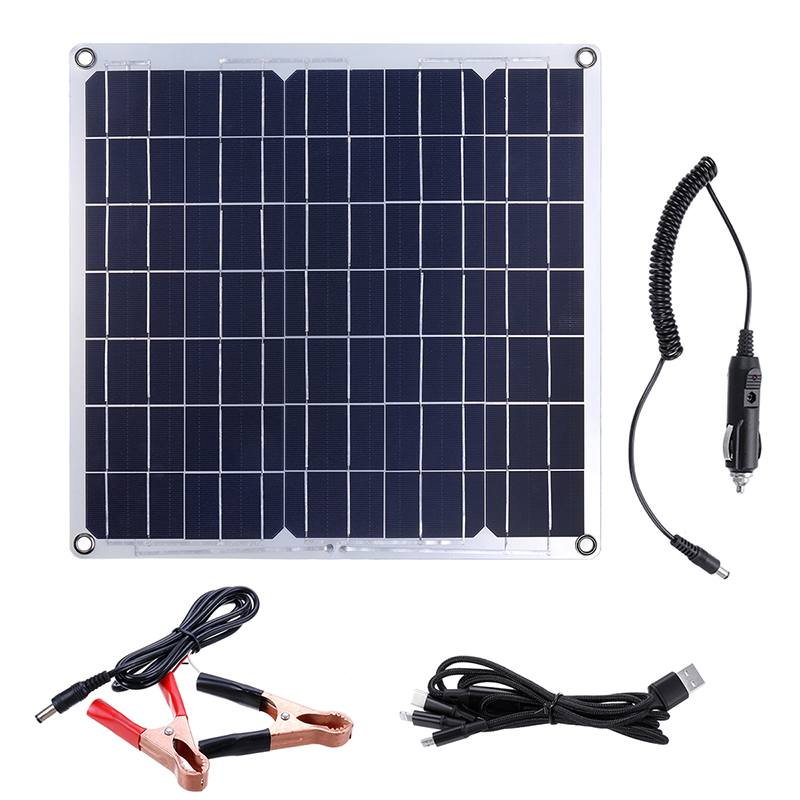 Solar Panel / Alligator Clip / Car Charger / USB Cable